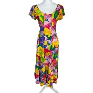 Jams World Asymmetrical Colorful Floral Dress S